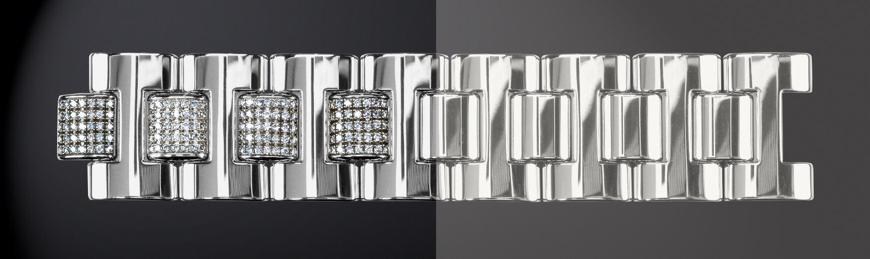 Bracelet avant/après dérhodiage